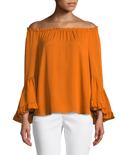 Karissa Ruffled-Trim Silk Blouse