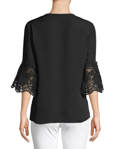 Gabi Lace-Cuff Silk Blouse
