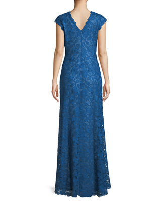 Image 2 of 4: Scalloped Lace Evening Dress