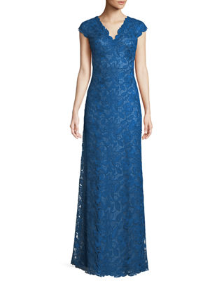 Image 1 of 4: Scalloped Lace Evening Dress