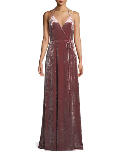 Aidan by Aidan Mattox Velvet Halter-Strap Wrap Dress