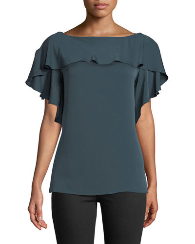 Elle Ruffle-Trim Silk-Blend Top