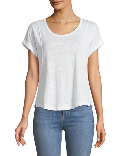 Lottie Scoop-Neck Short-Sleeve Linen Tee