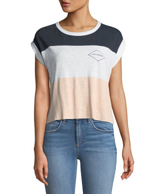 Rag & Bone Percy Crewneck Rolled-Cuff Colorblocked Graphic-Print