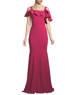 Badgley Mischka Cold-Shoulder Mermaid Ruffle Gown