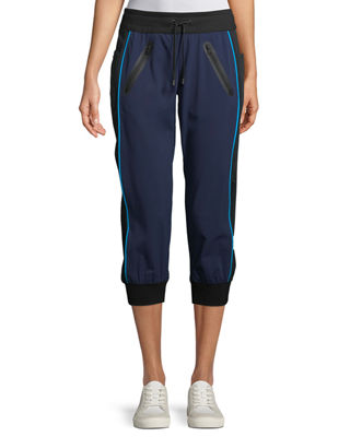 Drawstring Capri Mesh-Panel Jogger Pants