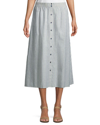 Eileen Fisher Hemp-Blend Long Striped Skirt