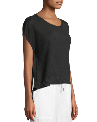 Organic Linen Side-Tie Short Poncho Top, Petite