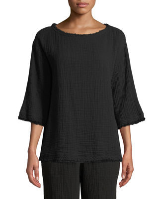 Eileen Fisher Organic Cotton Bateau-Neck Box Top and