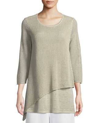 Eileen Fisher Organic Linen 3/4-Sleeve Round-Neck Knit Tunic