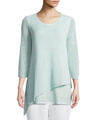 Organic Linen 3/4-Sleeve Round-Neck Knit Tunic