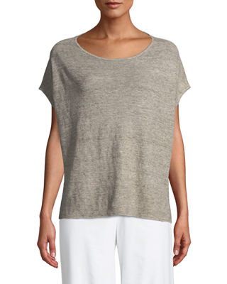 Eileen Fisher Melange Linen Bateau-Neck Poncho Top