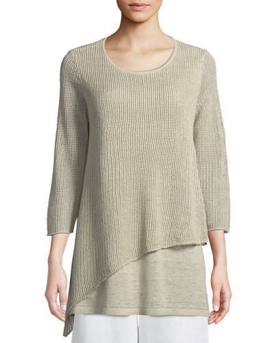 Organic Linen 3/4-Sleeve Round-Neck Knit Tunic, Plus Size