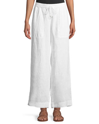 Eileen Fisher Organic Linen Drawstring-Waist Wide-Leg Pants, Plus