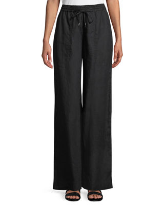 Eileen Fisher Organic Linen Drawstring-Waist Wide-Leg Pants,