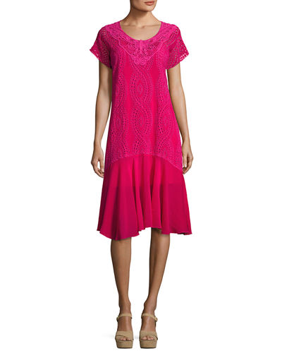 Halfrid Eyelet Dress with Chiffon Trim, Plus Size