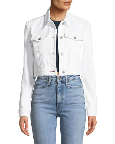 Faye Button-Down Cropped Denim Jacket