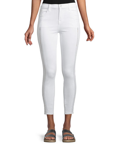 Alana High-Rise Cropped Super Skinny Jeans w/ Ladder Lace, White