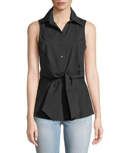 Walter Sleeveless Tie-Front Blouse