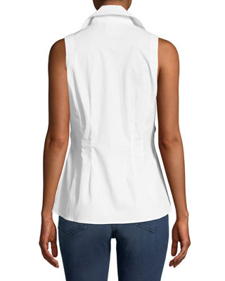Image 2 of 2: Walter Sleeveless Tie-Front Blouse