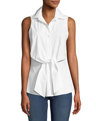 Image 1 of 2: Walter Sleeveless Tie-Front Blouse