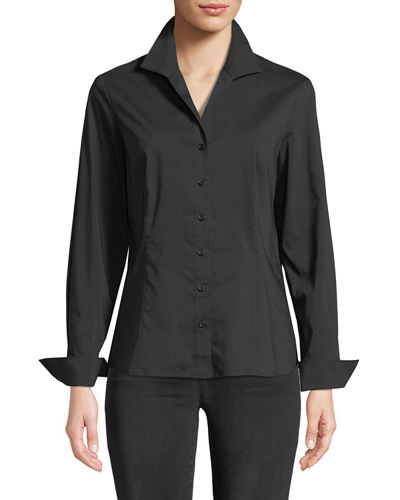 Revere-Collar Poplin Shirt w/ French Cuffs