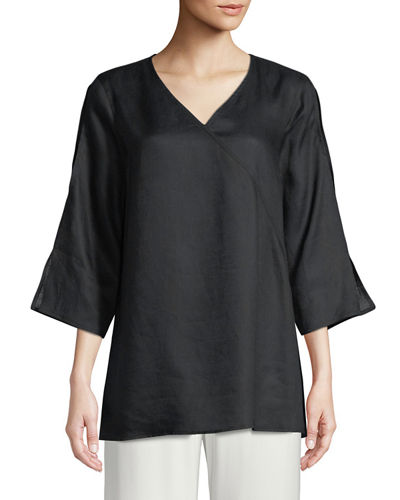 Tissue Linen V-Neck Havana Top, Plus Size