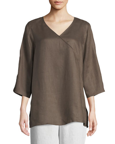 Caroline Rose Tissue Linen V-Neck Havana Top, Plus
