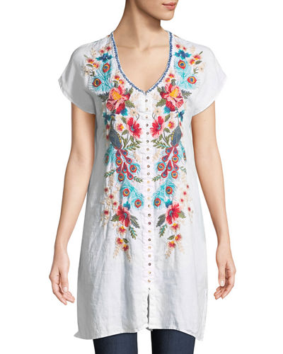 Vernazza Embroidered Linen Tunic Dress