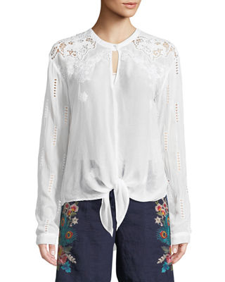 Johnny Was Heidine Tie-Waist Blouse, Plus Size