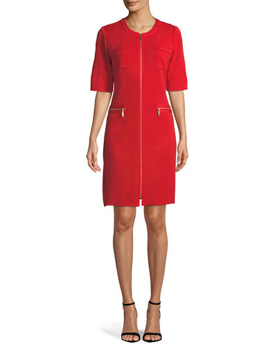Zip-Front Short-Sleeve Shirtdress, Petite