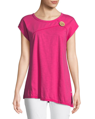 Playa Slub Jersey Asymmetric Top with Coconut Button