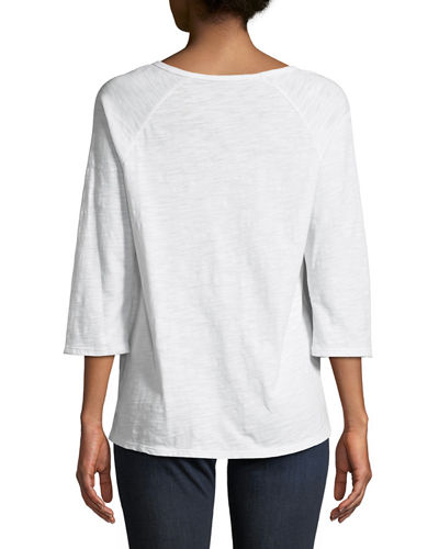 Beachwood Slub Jersey Lace-Up Tee, Plus Size