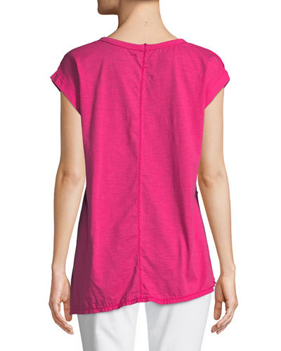 Playa Slub Jersey Asymmetric Top with Coconut Button, Plus Size