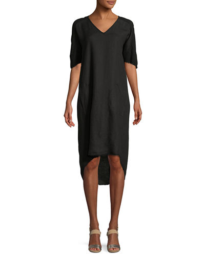 Raw-Edge High-Low Linen Dress, Plus Size