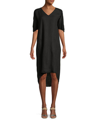 XCVI RAW-EDGE HIGH-LOW LINEN DRESS, PLUS SIZE