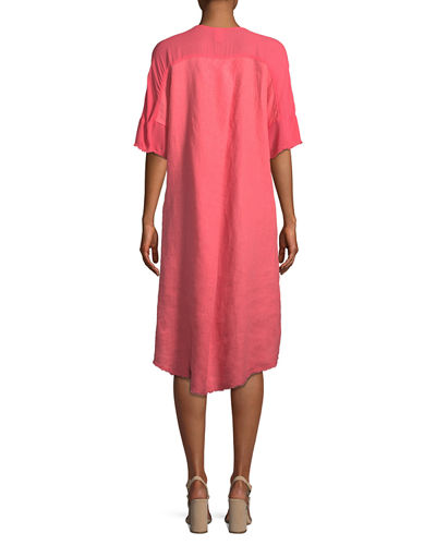Raw-Edge High-Low Linen Dress