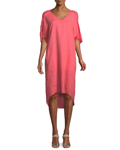 85a3fc3db8a Quick Look. XCVI · Raw-Edge High-Low Linen Dress
