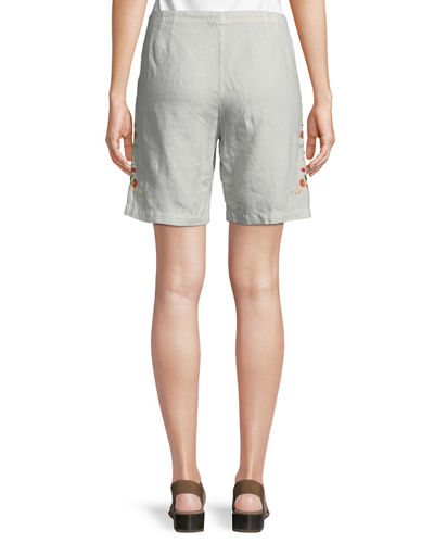 Vernazza Drawstring Embroidered Linen Shorts, Petite