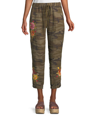 Johnny Was Vella Embroidered Linen Jogger Pants, Plus