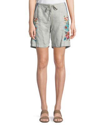 Johnny Was Vernazza Drawstring Embroidered Linen Shorts, Plus
