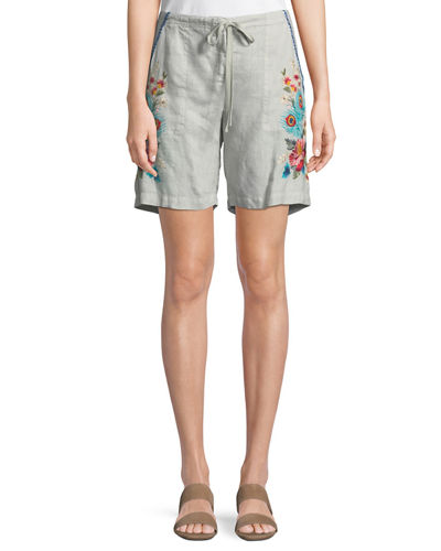 Vernazza Drawstring Embroidered Linen Shorts, Plus Size