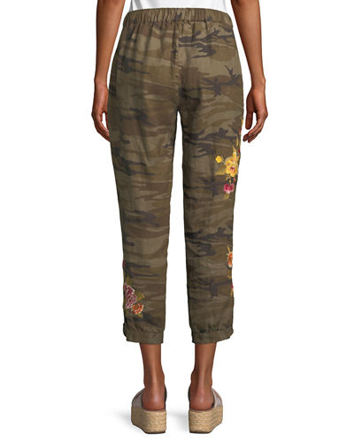 Vella Embroidered Linen Jogger Pants