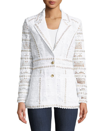 Studded-Trim Eyelet Blazer, Plus Size