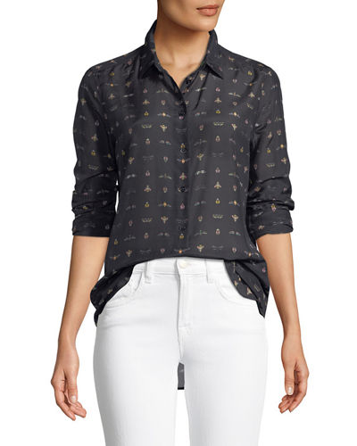 Equipment Essentials Insect-Print Cotton/Silk Shirt