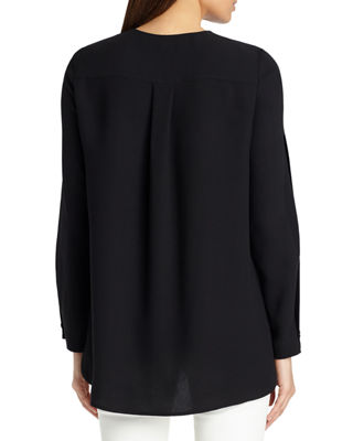 Image 2 of 3: Rowan Split-Long-Sleeve Silk Blouse