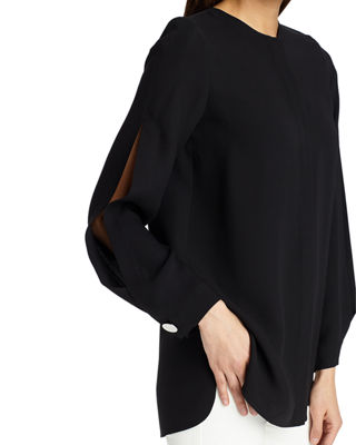 Image 3 of 3: Rowan Split-Long-Sleeve Silk Blouse