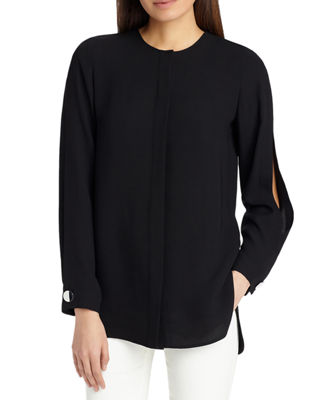 Lafayette 148 New York Rowan Split-Long-Sleeve Silk Blouse