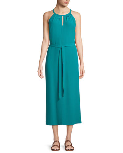 Sleeveless Long Viscose Crepe Halter Dress, Petite