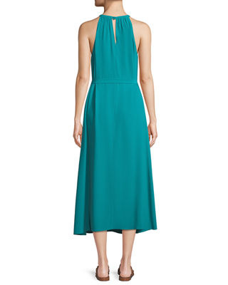 Image 2 of 4: Sleeveless Long Viscose Crepe Halter Dress